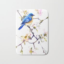Bluebird and Dogwwod Bath Mat