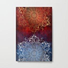 Mandala - Fire & Ice Metal Print
