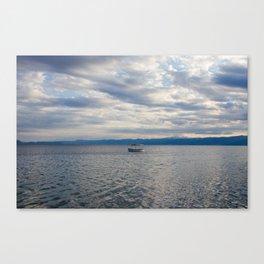 Lonely boat on Lake Ohrid, Macedonia Canvas Print