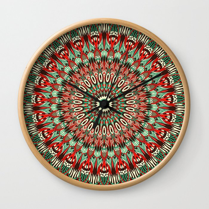 Ethnic mandala Retro colors Wall Clock