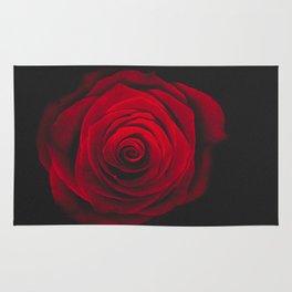Red rose on black background vintage effect Rug