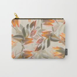 Orange Succulent Flowers Pastel Green Background #decor #society6 #buyart Carry-All Pouch