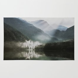 Dreamlike Morning at the Lake - Nature Forest Mountain Photography Rug