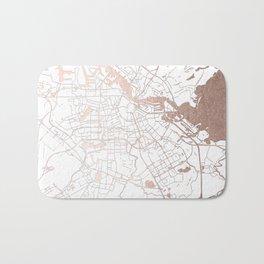 Amsterdam White on Rosegold Street Map Bath Mat