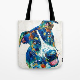 Colorful Dog Art - Happy Go Lucky - By Sharon Cummings Tote Bag