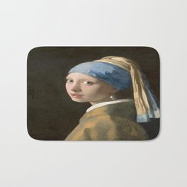 Girl with a Pearl Earring (1665), Old Masters Collection Bath Mat