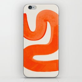 Mid Century Modern Abstract Minimalist Abstract Vintage Retro Orange Watercolor Brush Strokes iPhone Skin
