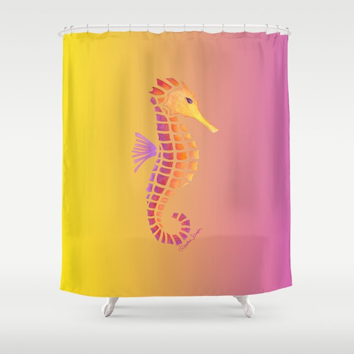 Sunset Seahorse Shower Curtain