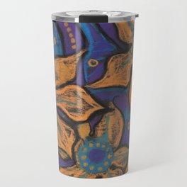 Golden flowers, decorative painting, pastel, floral motive Travel Mug