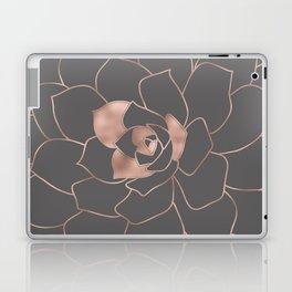 Rosegold  blossom on grey - Pink metal - effect flower Laptop & iPad Skin