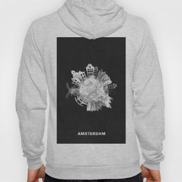 Amsterdam, The Netherlands Black and White Skyround / Skyline Watercolor Painting (Inverted Version) Hoody