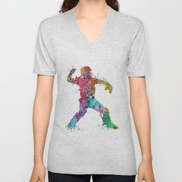 Baseball Softball Catcher 3 Art Sports Poster Unisex V-Neck