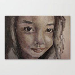 Watercolor portrait pretty asian girl Canvas Print