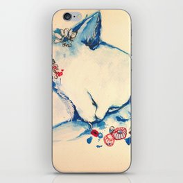 Cat sleeping with flowers iPhone Skin