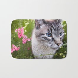 kitty in secret garden Bath Mat