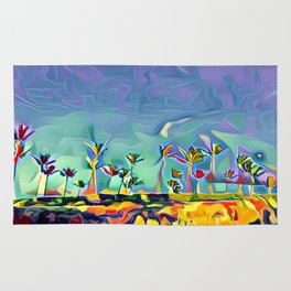 Golden Palm Landscape #2 (Middle) Triptych Rug