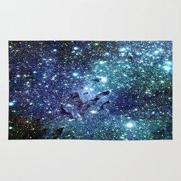 GalaxY Nebula Blue Teal Indigo Rug