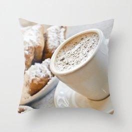 New Orleans Beignets and Café au Lait Throw Pillow