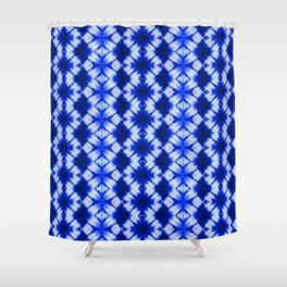 indigo shibori print Shower Curtain