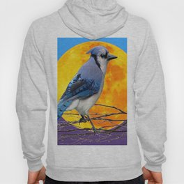 BLUE JAY & GOLDEN MOONSCAPE  ABSTRACT Hoody