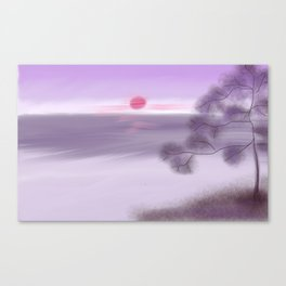 Purple Sunrise Japanese Landscape Painting Canvas Print