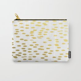 Gold Foil Confetti Polka Dots Brushstroke Watercolor Ink Holiday Inspiration Party Abstract Pattern Carry-All Pouch