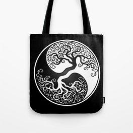 White and Black Tree of Life Yin Yang Tote Bag