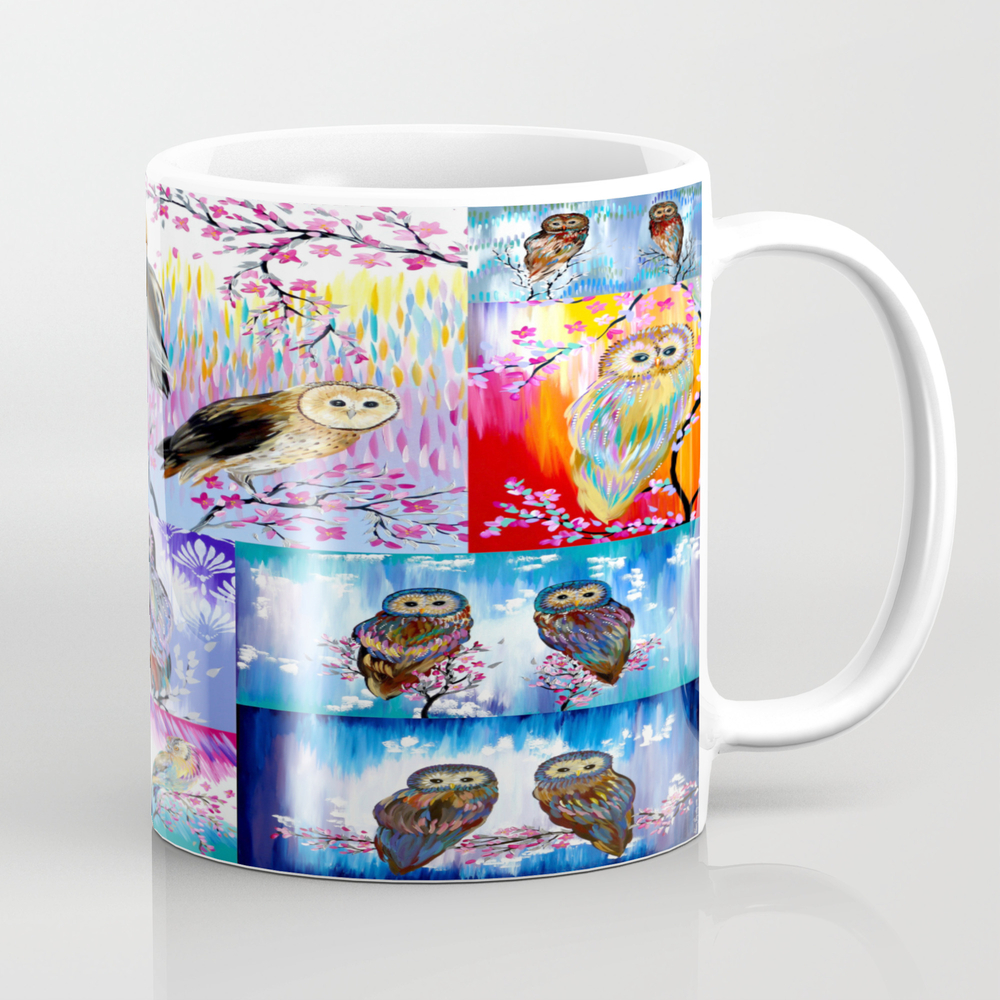 Abstract Owls Tea Cup by Cathyjacobs MUG8833337