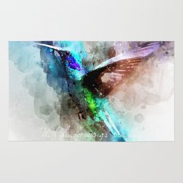 With brave wings she flies inspirational quote watercolor hummingbird motivational saying bird print Rug