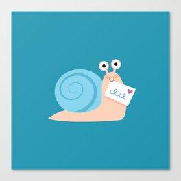 Blue snail mail Canvas Print