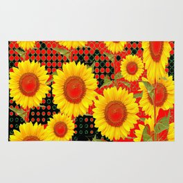 MODERN OPTICAL RED-BLACK ART SUNFLOWER FIELD Rug
