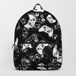 Video Game White on Black Backpack