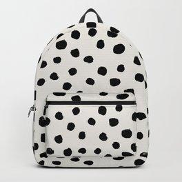 Preppy brushstroke free polka dots black and white spots dots dalmation animal spots design minimal Rucksack